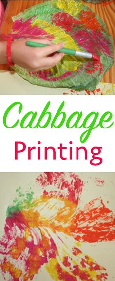 Printing and Painting with Cabbage Leaves - Preschool