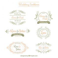 Emblemas do casamento ornamentais Vetor grátis