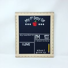 First Day Of School Chalkboard, First Day of School Prop Sign, Back To School Chalkboard, School Blackboard, First Day Of School Sign by CreativeCraftRooms on Etsy https://www.etsy.com/listing/522232024/first-day-of-school-chalkboard-first-day