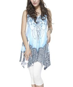 Look at this #zulilyfind! Blue & White Lace Abstract Floral Racerback Handkerchief Tunic #zulilyfinds