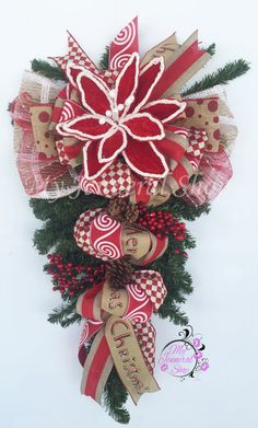Christmas Swag Christmas Wreath Teardrop Swag by MyJenneralShop                                                                                                                                                                                 More