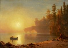 German-born American artist Albert Bierstadt - was best known for his paintings of the American West. A member of the mid American art movement known as the Hudson River School, he focused on romantic landscapes. Albert Bierstadt Paintings, Hudson River School, Mountain Landscape, Beautiful Paintings, American Artists, Art Museum, Art History, Landscape Paintings, Landscapes