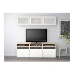 BESTÅ TV storage combination/glass doors - white stained oak effect/Selsviken high-gloss/white frosted glass, drawer runner, soft-closing - IKEA