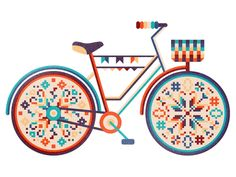 bicycle illustration by by Elena Lazutina #pixel #cross-stitch #colour
