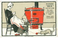 """Waschmaschine, Mutter, Kind, Katze, Werbe-AK """"Rex Waschmaschinen"""", 1925"""