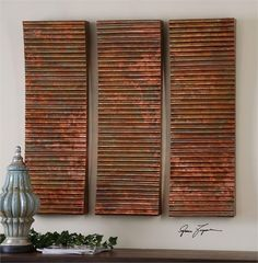 Wall Art Featuring Ribbed, Concaved Surface Covered In Oxidized Copper Sheeting.With The Advanced Product Engineering And Packaging Reinforcement, Uttermost Mai