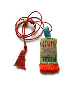 VariousOf - Talisman Textile Necklace. Embroidered Amulet. Lucky Charm. Keepsake. ooak