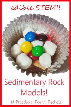 STEM Challenge: Sedimentary Rocks Model!  Challenge your kiddos to make sedimentary rocks using edible layers!  Click on the picture for a STEM discussion and great ideas for a sedimentary rocks lesson!  I've adjusted this lesson for three age groups now (preK, kindergarten/1st/2nd grade, & 3rd/4th/5th grade), and they have all loved it!