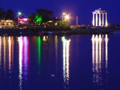 Side, Antalya. Night view Crystal Palace, Resort Spa, Marina Bay Sands, Side Antalya, Sunrise, Places, Travel, Night, Viajes