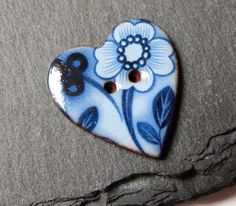 Ceramic Button Heart Shaped With Blue Flower от craftysewnsews