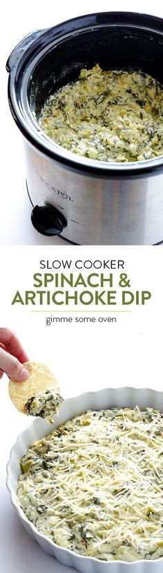 Slow Cooker Spinach Artichoke Dip -- the delicious dip that we all love, made extra quick and easy in the crock pot   gimmesomeoven.com
