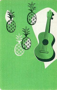 pineapple ukulele - hawaiian playing card