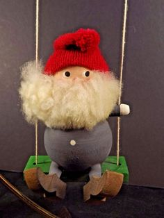 Bo Strom Elf Elves Swing Wood Wool Beard Christmas Ornament Sweden Folklore #BoStromelves #elfChristmas