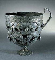 *POMPEII, ITALY ~ Drinking cup with olives, silver, ca. 50 B.C.,