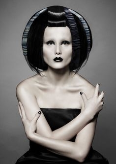 Avant-garde hair - German Hairdressing Awards winner, fashion, style, black hair, bullet hair, look forward, dark style, pale skin make-up, mystery picture, hair magazine, exceptional model, black lips. Hair: D. Machts Group/Berlin