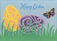 2015-044 Easter - STAMPS: Sizzix/Hero Arts Butterflies #3, Inkadinkado sentiment; DIE: Sizzix/Hero Arts Butterflies #3 Framelits; SILHOUETTE: Easter Egg Swirls, Easter Egg Vines, Grass