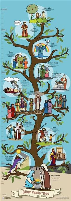 Bible Family Tree 14' x 39' Poster for Kids features some of the folks in the Old Testament who are in the Line of Jesus - from Adam and Eve, to David, and finally to Mary and Joseph.  Thirteen family members are illustrated.                                                                                                                                                                                 Mais