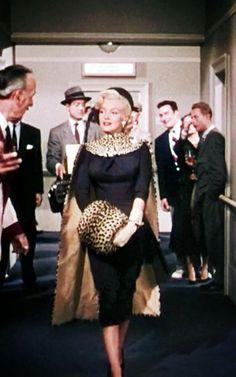 """Marilyn Monroe- in black & a little leopard muff (""""Gentlemen Prefer Blondes,"""" 1953)"""