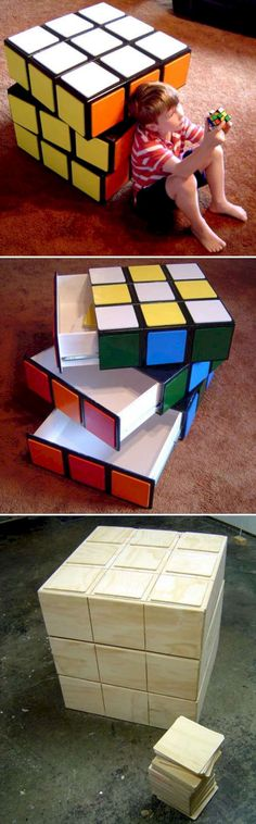 Awesome game room storage bin in the form of a Rubik's cube Jake Rogers would love this. Unique Furniture, Kids Furniture, Gaming Furniture, Furniture Buyers, Furniture Online, Furniture Plans, Office Furniture, Furniture Assembly, Rustic Furniture