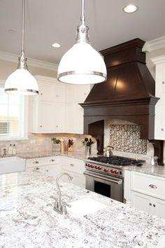 white kitchen + espresso stained hood