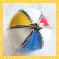 Summer and water fun! Enamel MULTI-COLORED BEACH BALL sterling silver charm | $32