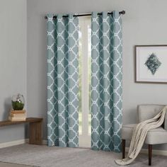 Product Image for Madison Park Essentials Merritt Printed Fret Grommet Window Curtain Panel Pair 1 out of 2
