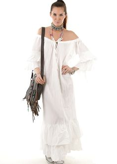 Gypset Maxi Tunika Volant weiss: INDIAN SUMMER, Germany