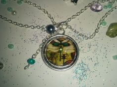 Silver Pendant Green Dragonfly Steampunk Fantasy with Beads
