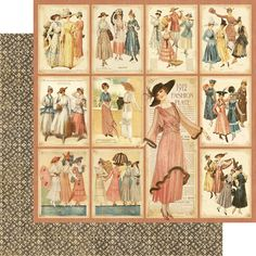 Graphic 45 - Ladies' Diary Collection - 12 x 12 Double Sided Paper - Fashion Plates at Scrapbook.com $1.09