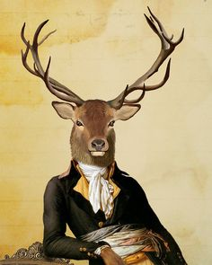 Deer & Chair Portrait 14x11 Original Illustration by LoopyLolly, $36.00