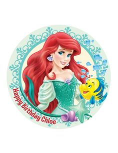 Edible Cake Cupcake Topper Decoration Image Girls Ariel Disney Princess The Little Mermaid  Personalised  Rice Wafer Paper  by CustomCakeTopperAus on Etsy https://www.etsy.com/listing/252695786/edible-cake-cupcake-topper-decoration