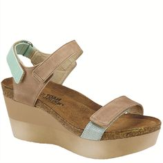 "Naot Women's ""Miracle"" from the Genesis Collection in it's new color combination, Khaki Beige/Celadon/Sea Pearl! Available in more colors! #Naot  #NaotFootwear #Comfort #Fashion #Wedges #Sandals #WomensFashion #Pastel #SpringHasSprung"