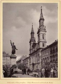 A Petőfi tér a Petőfi-szoborral és a görög-keleti templommal 1899