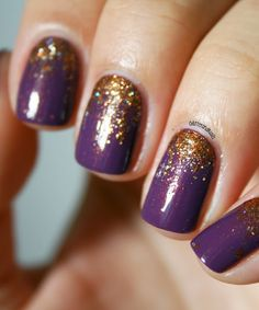Fall nails: plum and pumpkin manicure