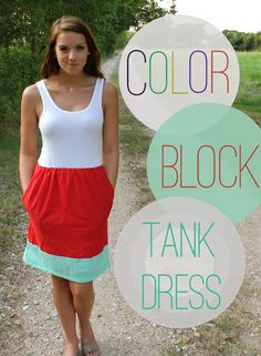 color block tank dress: looks like it'd be very easy to modify into my own size! (everything's based on math, rather than a sizing chart)
