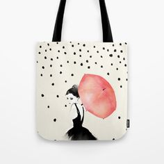 Polka Rain Tote Bag by Karen Hofstetter. Worldwide shipping available at Society6.com. Just one of millions of high quality products available.