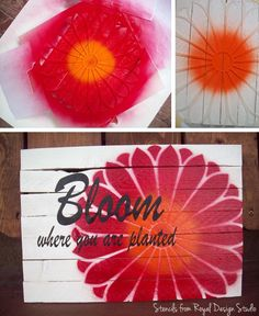 Pinned Image  Flower stencil sign. Cute DIY project with a single flower from our Japanese Flower Garden stencils set.