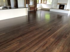 Coloured matai floor stained with a dark walnut stained reduced down to avoid the floor going too dark. The floor was finished in a matt commercial waterbased polyurethane.