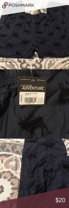 NWT Mens Eddie Bauer Pajama bottoms Mens Eddie Bauer Pajamas. New with tags! Dark blue/grey with deer pattern. 100% cotton. Inside waist tie. Retails $39.99 Eddie Bauer Other