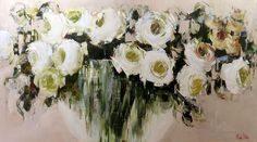 Artwork of Nicole Pletts exhibited at Robertson Art Gallery. Original art of more than 60 top South African Artists - Since Rose In A Glass, Pink Sunflowers, Red Artwork, Pastel Roses, Prophetic Art, South African Artists, Acrylic Canvas, Contemporary Paintings, White Roses