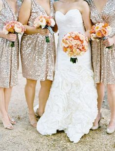 Sequin gowns are cool not only for brides but also for their bridesmaids! Girls look beautiful in such dresses in any season, they are great not only for festive weddings but for any other – from retro 20s inspired to modern colorful ones.