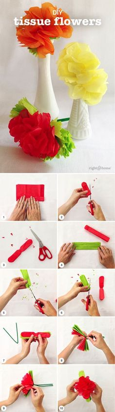 Mexican Tissue Flowers http://bit.ly/1Rmtymg Try these DIY tissue flowers for some fun fall florals! Source b http://bit.ly/1OHl6sT