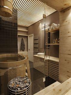 Masculine Apartment Design Idea With Vintage Interior Concept Spa Bathroom Design, Spa Bathroom Decor, Bathroom Styling, Modern Bathroom, Master Bathroom, Industrial Bathroom, Spa Interior, Interior Design, Saunas