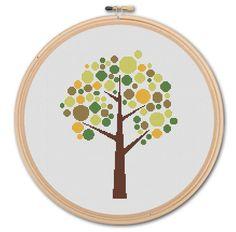 Cute Tree Counted Cross stitch Pattern PDF by WonderNeedle, $3.50