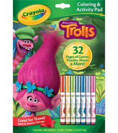 Engross kids even while traveling with the Crayola Dreamworks Trolls Coloring and Activity Pad. It comes with built-in marker storage for seven washable mini markers and 32 themed pages filled with ga Trolls Birthday Party, Troll Party, 10 Birthday, Online Craft Store, Craft Stores, Best Christmas Toys, Christmas 2017, Christmas Gifts, Marker Storage