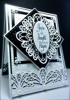 Cards by America: Black and White Cards using Sue Wilson's French Corner Border Tag