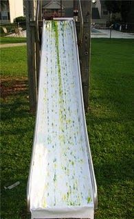 slide painting - Although we don't have a slide, we could totally do this from the balcony going down into the garden :)