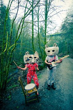 Cat Band (by Animal Masks, Animal Heads, Band Photography, Weird And Wonderful, Masquerade, Puppets, Bunt, Art Inspo, Creepy