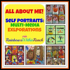 """All About Me"" Self Portrait Art - Self Portraits by Children (""All About Me"" RoundUP via RainbowsWithinReach) What's your favor - All About Me Preschool, Preschool Art, Preschool Themes, Creative Teaching, Teaching Art, Teaching Ideas, Teaching Resources, Self Portrait Art, Portrait Ideas"
