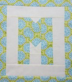 Letter M - free alphabet quilt block tutorial